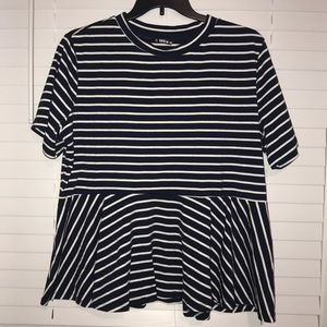 Navy and White Striped Babydoll Shirt